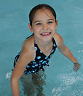 Camee in the Marianjoy Aquatic Therapy Center salt-water pool.